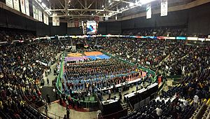 Times Union Center - Wrestlers gather on the floor of the Times Union Center for the opening ceremony of the 53rd NYSPHSAA Wrestling Championships on February 27, 2015.