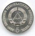5 Mark DDR 1980 - 75. Todestag von Adolph von Menzel - Wertseite.JPG