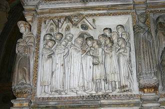 Faith healing - A scene from Peter of Verona's life: a mute man is miraculously healed. Detail from the relief on the back side of Peter of Verona's grave in the Portinari Chapel in Basilica of Sant'Eustorgio in Milan, Italy.