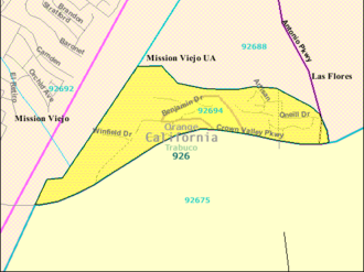 Ladera Ranch, California - The 92694 ZCTA is statistically equivalent to Ladera Ranch. This is a map of what was completed in 2000.