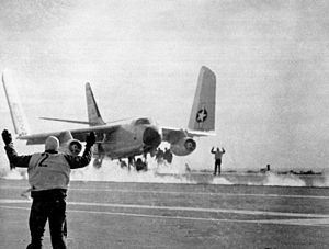 A-3B VAH-6 unfolding wings on USS Ranger (CVA-61) c1963.jpg
