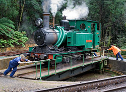 Locomotive on the West Coast Wilderness Railway.