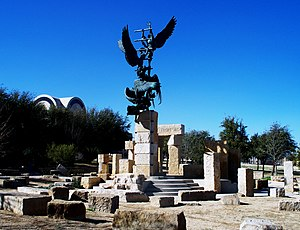 "Abilene Christian University - Jacob's Dream statue and display on the ACU campus. The artwork is based on Genesis 28:10–22 and graphically represents the scenes alluded to in the hymn ""Nearer, My God, to Thee"" and the spiritual ""We Are Climbing Jacob's Ladder"" as well as other musical works."