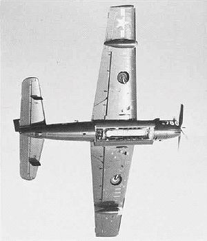Grumman AF Guardian - The underside of an AF-2S showing its opened weapons bay