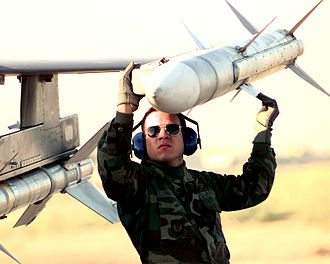 AIM-120 AMRAAM - An AIM-120 AMRAAM mounted on the wingtip launcher of an F-16 Fighting Falcon