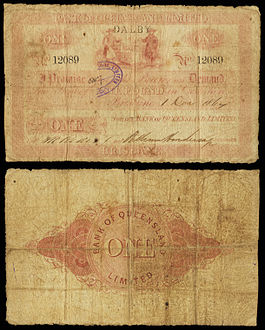 An issued Bank of Queensland £1 note (1864)
