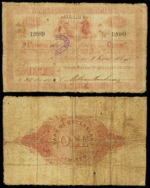 Banknotes of the Australian pound - Image: AUS Bank of Queensland Limited Dalby Branch £1 Dec 1, 1864