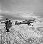 A Hawker Hurricane Mk IIB of No. 134 Squadron RAF taxies out past Russian sentries at Vaenga, near Murmansk, October 1941. CR141.jpg