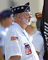 "A Korean War Veteran, Ed ""Doc"" Brown stands at attention during a repatriation ceremony held July 10, 2001 at Hickam AFB, Hawaii 010710-F-TV770-002.jpg"