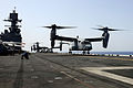 A U.S. Marine Corps MV-22 Osprey tiltrotor aircraft takes off from the amphibious assault ship USS Bataan (LHD 5) June 28, 2014, while underway in the Red Sea 140628-N-JX484-046.jpg