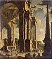 A capriccio of classical ruins with figures, oil on canvas painting by Leonardo Coccorante.jpg