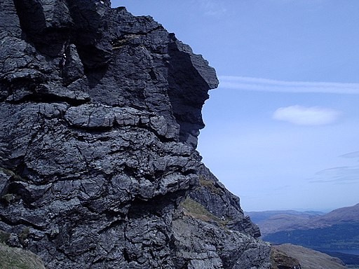 A climber on the SE cliffs of the North peak of Beinn Artair - geograph.org.uk - 1807703
