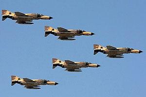 V formation - IRIAF F-4 Phantoms in a V formation over 6th TAB of Iran