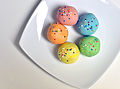 A rainbow of cake balls, May 2010.jpg