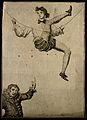 A tightrope walker above a clown. Engraving. Wellcome V0007470.jpg