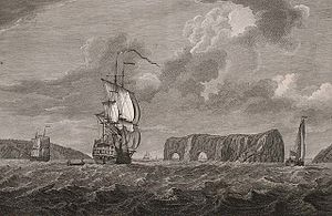 "Percé Rock - Print title: ""A view of the Pierced Island, a remarkable rock in the Gulf of St. Laurence—two leagues to the southward of Gaspée Bay"" drawn by Captain Hervey Smyth, 1760; engraved by Pierre Charles Cannot 1768."