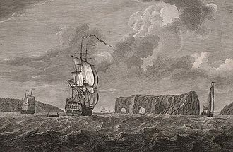 """Percé Rock - Print title: """"A view of the Pierced Island, a remarkable rock in the Gulf of St. Laurence—two leagues to the southward of Gaspée Bay"""" drawn by Captain Hervey Smyth, 1760; engraved by Pierre Charles Canot 1768."""