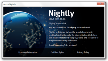 English: Firefox Nightly Update Screen