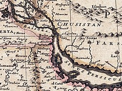 17th-century map zoomed in on the Persian Gulf area]