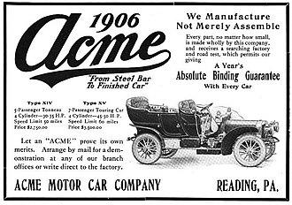Acme (automobile) - Acme Motor Car Company - 1906.