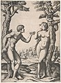 Adam and Eve flanked by two trees, a town in the background MET DP806953.jpg