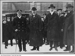 Aemilius Jarvis - Admiral Jellico, head of the Navy, Aemilius Jarvis, and Mayor Tommy Church in Toronto - Jellicoe is on the left, Jarvis in the centre, and Church to the right of Jarvis (1918/19)
