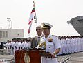 Admiral RK Dhowan, Chief of the Naval Staff addressing the gathering at the Navy Investiture Ceremony 2015.jpg