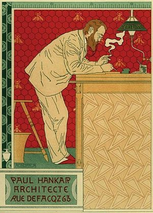 Paul Hankar - Portrait of Paul Hankar in a poster by Adolphe Crespin (ca. 1894).
