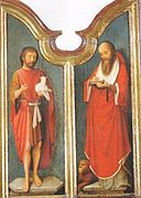 Adriaen Isenbrant - Two doors of a Triptych with Saints Jerome and John the Baptist.jpg