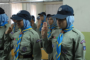 Afghanistan Scout Association - A group of Afghan Girl Scouts recite the Scout motto during their meeting. These girls are part of the Marastoon Boy and Girl Scout Troop in Kabul. The troop currently has more than 200 Scouts and hopes to have 400 in 2011, said Tamim Hamkar, a Scout trainer for the Marastoon troop.