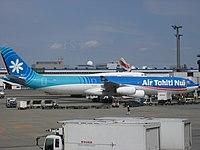 Air Tahiti Nui A340-313 (F-OLOV) parked at Narita International Airport.jpg