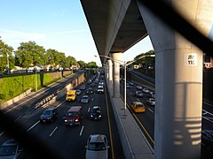 The AirTrain viaduct over Van Wyck Expressway