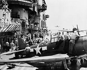 Aircraft landing on USS Saratoga (CV-3) 1943.jpg