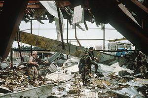 US military personnel search to the rubble aft...