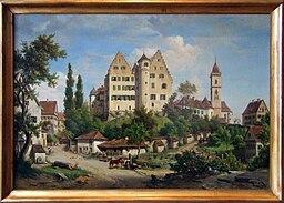 Albert Emil Kirchner, Schloss und Stadt Aulendorf (1860) - cropped