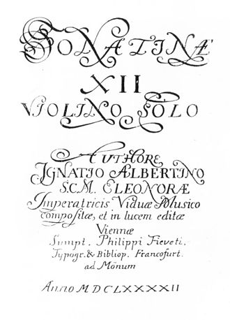 Ignazio Albertini - Title page of Sonatinae, the 1692 collection which contains Albertini's only surviving music