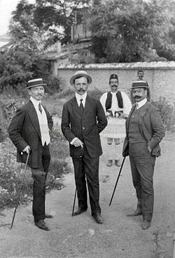 Aleksandros Mazarakis Dimitris Kakavos and one more agent of greek consulat in Thessaloniki.jpg