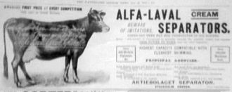 Alfa Laval - Advert from 1899