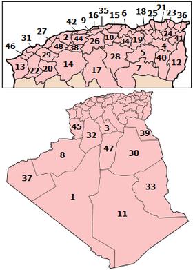 Mapa de las provincias de Argelia numeradas de acuerdo al orden oficial.