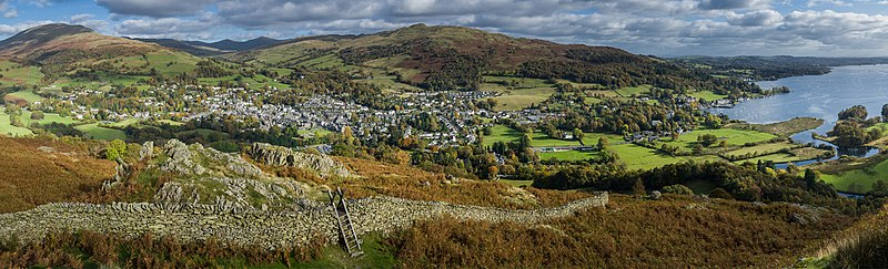 Ambleside & Waterhead Panorama 2, Cumbria, England - Oct 2009