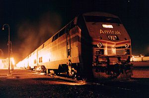 Southwest Chief - Amtrak Eng. 69 on the Southwest Chief at Barstow, California in 1999