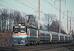 Amtrak 908 leading a southbound train at Bowie, December 1980.jpg