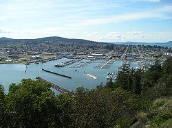 View of the downtown and marina of Anacortes from the east