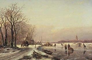 Winterlandschap met boerenkar en schaatsenrijders