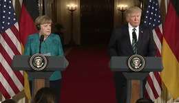 Merkel and Trump at a press conference together