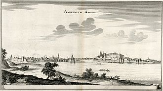 Angers - The town is called Andegavum Angers on this 1657 engraving