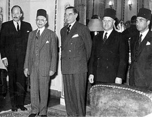 F. D. Amr Bey - The 1952 Anglo-Egyptian negotiations. Ambassador Amr is on the far right, wearing a tarboosh.
