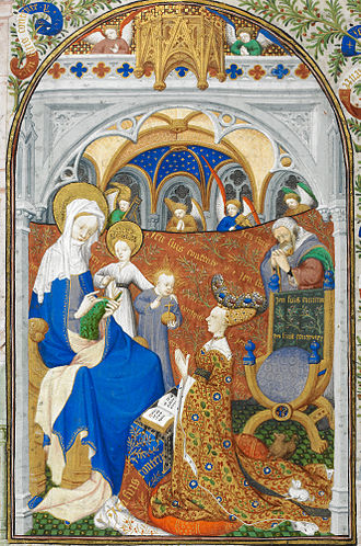 Bedford Hours - Miniature of Anne, Duchess of Bedford praying before St Anne, f. 257v