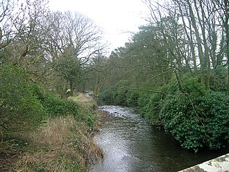 Chapeltoun - The Annick Water looking upstream from Chapeltoun Bridge.