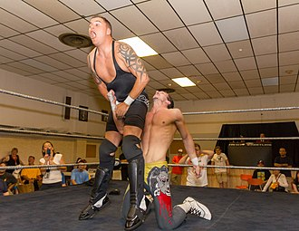 Groin attack - An example of a low blow in professional wrestling